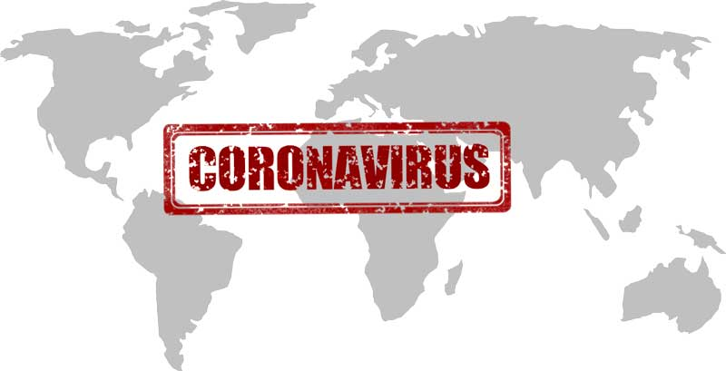 world map with coronavirus stamp
